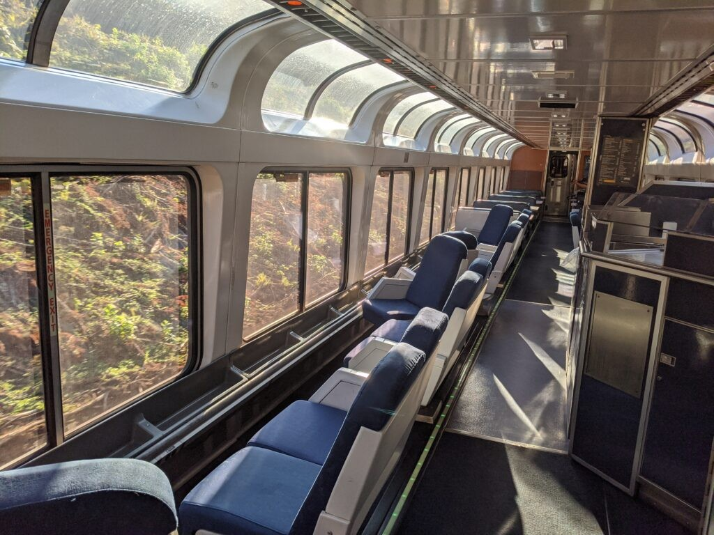 The observation car, which features floor-to-ceiling windows.